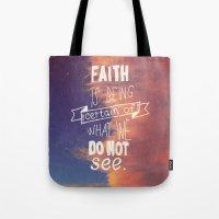 faith Tote Bags featuring faith  by Brittney Borowski