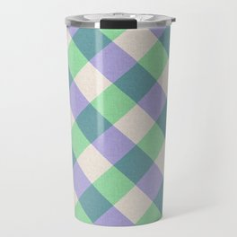 Green blue ivory violet geometric checker gingham Travel Mug