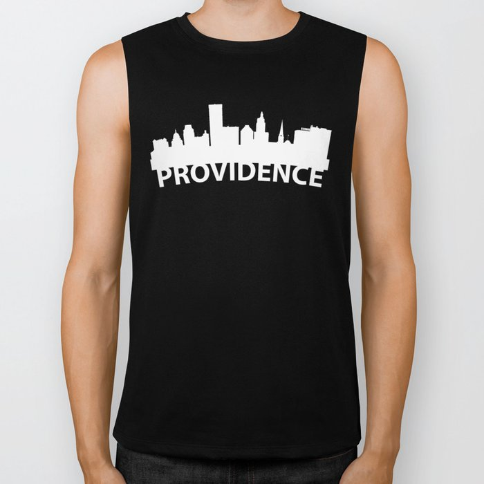 Curved Skyline Of Providence RI Biker Tank