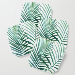 Emerald Palm Fronds Watercolor Coaster