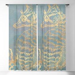 Deep Sea Life Seahorse Sheer Curtain