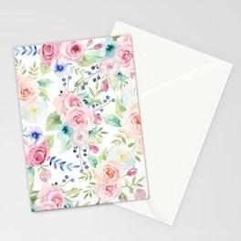 Blush pink watercolor elegant roses floral Stationery Cards
