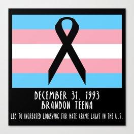 Memorial: Brandon Teena Canvas Print