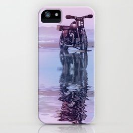 Where the Journey  begins Motorcycle at the Water Sunset iPhone Case