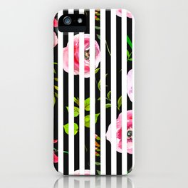 Pink lavender green watercolor floral stripes iPhone Case