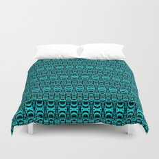 Abstract Pattern Dividers 07 in Turquoise Black Duvet Cover