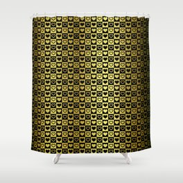 Gold & Black Valentines Loveheart Square Checkers Shower Curtain