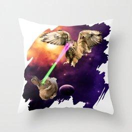 Rabbit vs Owl Epic Battle Laser Fight Throw Pillow