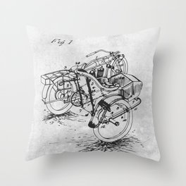 Side car motorcycle Throw Pillow