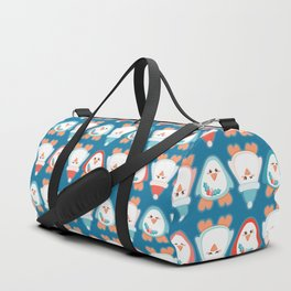 Cute Christmas penguin seamless vector pattern with Santa's hat and mistletoe Duffle Bag