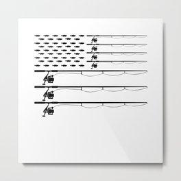 American Flag Fishing Rod Largemouth Bass Patriot Men Gift Metal Print