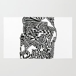 Face, Black/White Abstract (ink drawing) Rug