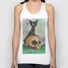 Black Cat with a Skull Unisex Tank Top