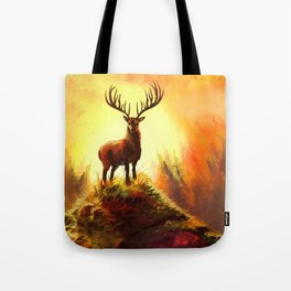 Stag Upon The Hill Tote Bag
