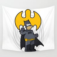 homer Wall Tapestries featuring bat-homer: the Simpsons superheroes by logoloco