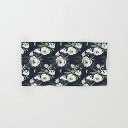 Blush pink white green black watercolor modern floral Hand & Bath Towel