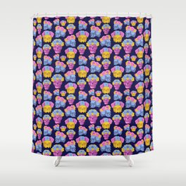 Colourful Skulls wearing Flower Crowns Shower Curtain