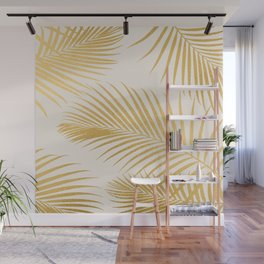 Metallic Gold Tropical Palm Fronds Wall Mural