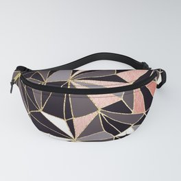 Stylish Art Deco Geometric Pattern - Black, Coral, Gold #abstract #pattern Fanny Pack
