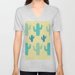 Green Cactus with Yellow Background Unisex V-Neck