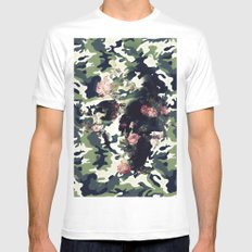 Camouflage Skull MEDIUM White Mens Fitted Tee