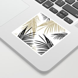 Gold Black Palm Leaves Dream #1 #tropical #decor #art #society6 Sticker