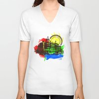 chicago V-neck T-shirts featuring Chicago by Badamg