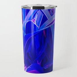 Exotic, Lush Fantasy Blue and Neon Pink Leaves Travel Mug