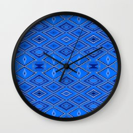 Blue Navajo inspired pattern. Wall Clock