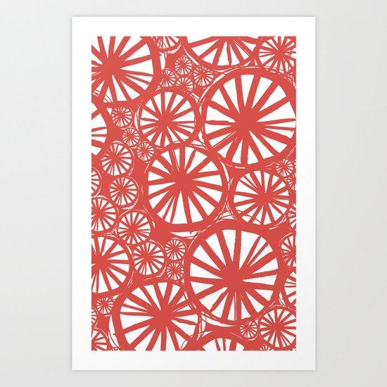 coral spokes Art Print