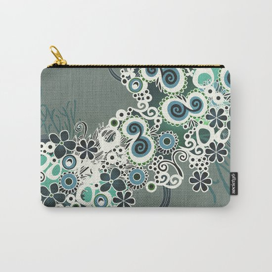 Diagonal flower – blue and green fiber Carry-All Pouch