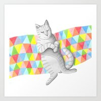 Cat sleeping on a quilted blanket Art Print