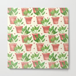 Potted Plants Watercolor Pattern Metal Print