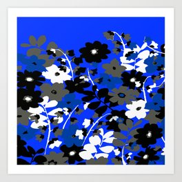 SUNFLOWER TRELLIS BLUE BLACK GRAY AND WHITE TOILE Art Print