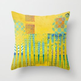Yellow & Turquoise Abstract Art Collage Throw Pillow