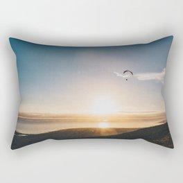 Sunset Paragliding over beach and mountains Rectangular Pillow