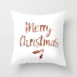 Rose gold Christmas Throw Pillow