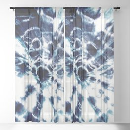 Tie Dye Sunburst Blue Sheer Curtain