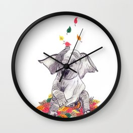 Baby elelphant and leaves Wall Clock