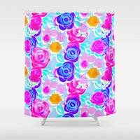 large Shower Curtains featuring Large Roses by Louise Elizabeth