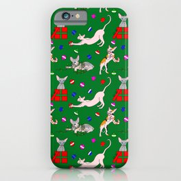 christmas sphynx (naked cat) ugly sweater iPhone Case