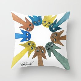Rouen Whimsical Cats Throw Pillow