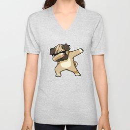 Dabbing Pug Unisex V-Neck