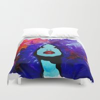 afro Duvet Covers featuring afro color by WITH MY HANDS
