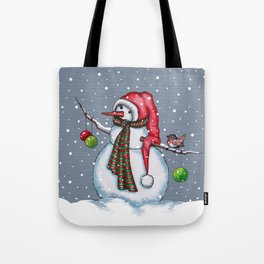 Snowman With Scarf & Hat, Falling Snow, Christmas, Birdie Tote Bag