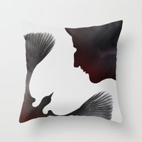 edgar allen poe Throw Pillows featuring Edgar Allen Poe and the Raven ~ Second Edition by The Herald Project