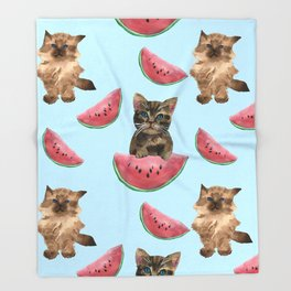 Kittens and sweet watermelon Throw Blanket