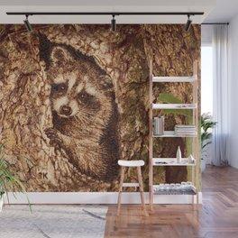 Raccoon in Tree Hollow Woodburn Wall Mural