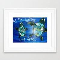 turtles Framed Art Prints featuring Turtles by Lark Nouveau Studio