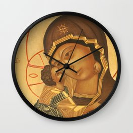 Orthodox Icon of Virgin Mary and Baby Jesus Wall Clock